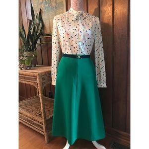 Vintage Green Skirt with Blue belt